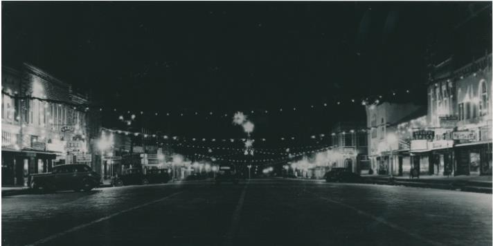 Happy Holidays Christmas Lighting on Main Street in 1940